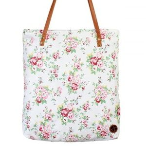 Large white floral tote